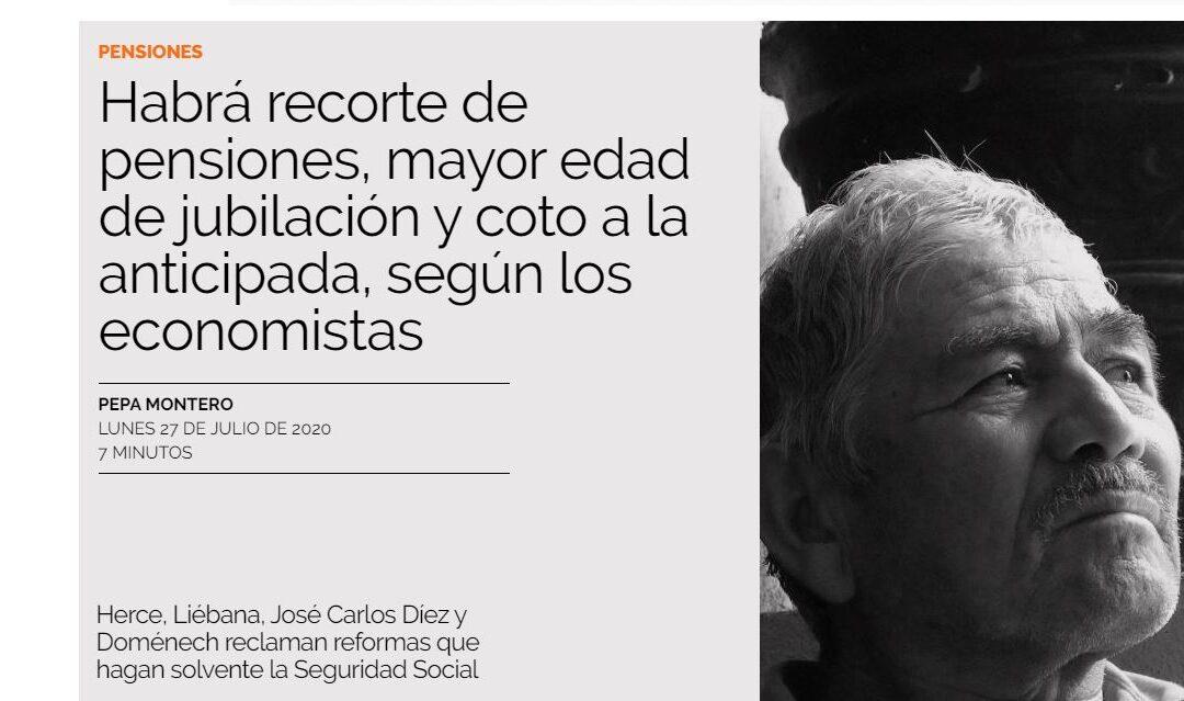 ECONOMISTAS Y EXPERTOS PREVÉN RECORTES EN LAS PENSIONES DEL SISTEMA PÚBLICO