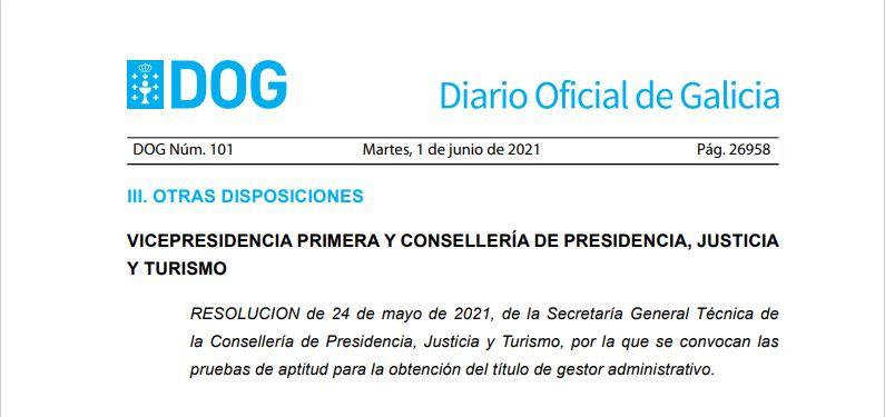 La Xunta de Galicia convoca las pruebas de aptitud para obtener el título de Gestor Administrativo